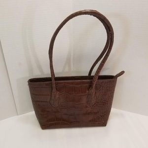 "NWOT ""Furla"" Italy Brown Croc Look Shoulder Bag."